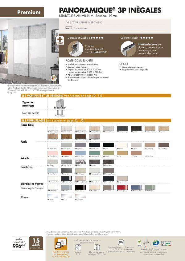 Page modèle Sogal Placard coulissant Panoramique® 3P inegales