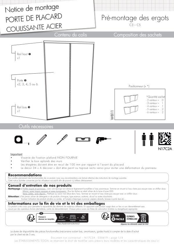 Notice de montage Sogal placard coulissant Prémio montant C3 et C5