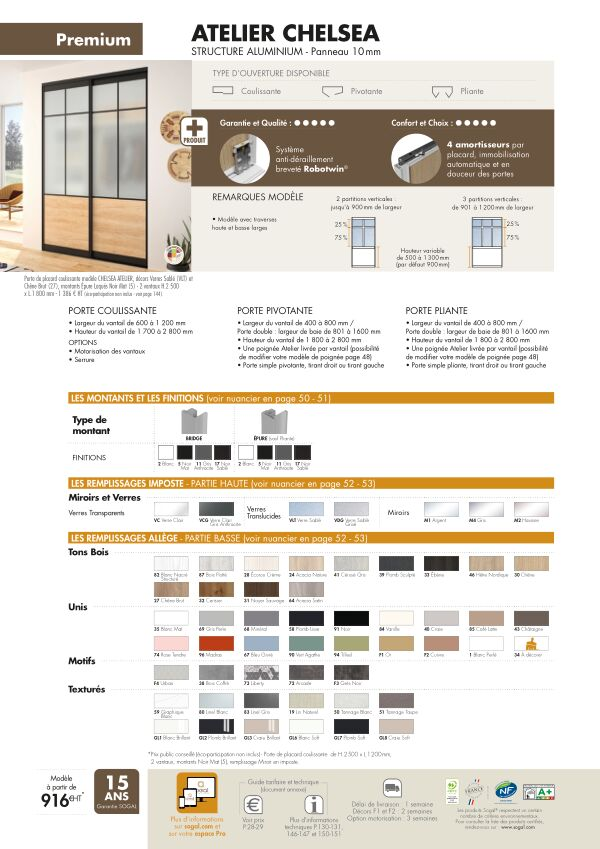 Page modèle Sogal Placard coulissant Atelier Cheslea