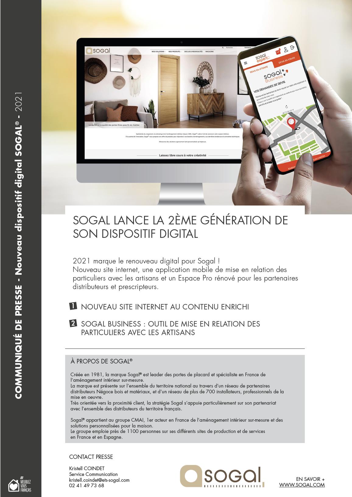 Communiqué presse digital site sogal