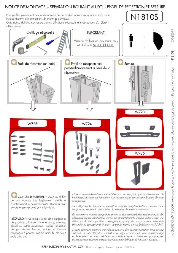 Notice de montage Sogal Séparation Roulant au sol Profil de réception et serrure