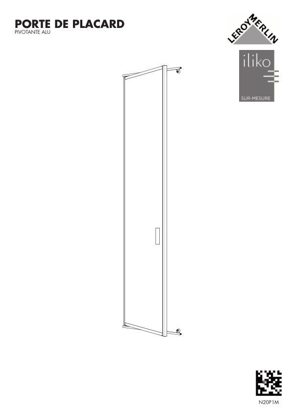 Portes de placard pivotante aluminium Leroy Merlin N20P1M