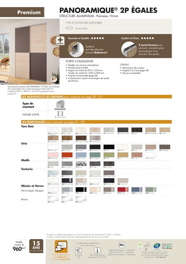 Page modèle Sogal Placard coulissant Panoramique® 2P egales