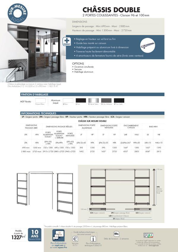 Page modèle Sogal Châssis sur-mesure 2 vantaux