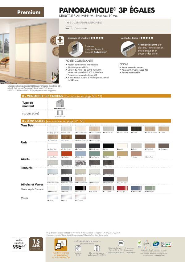 Page modèle Sogal Placard coulissant Panoramique® 3P egales