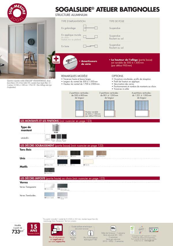 Page modèle Séparation coulissante Sogalslide Atelier Batignolles