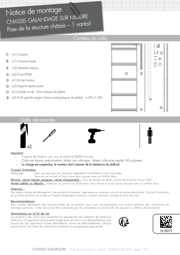 Notice de montage Sogal Châssis sur-mesure 1 vantail