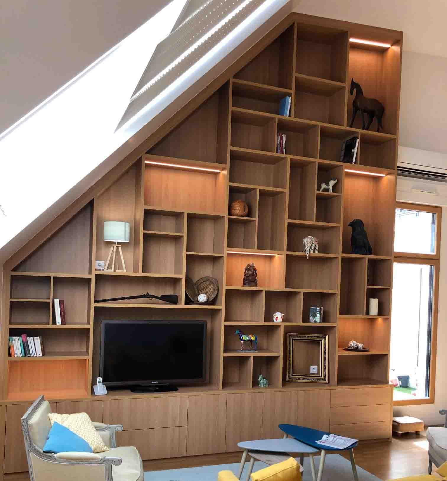 meuble tv bibliothèque sous pente en bois