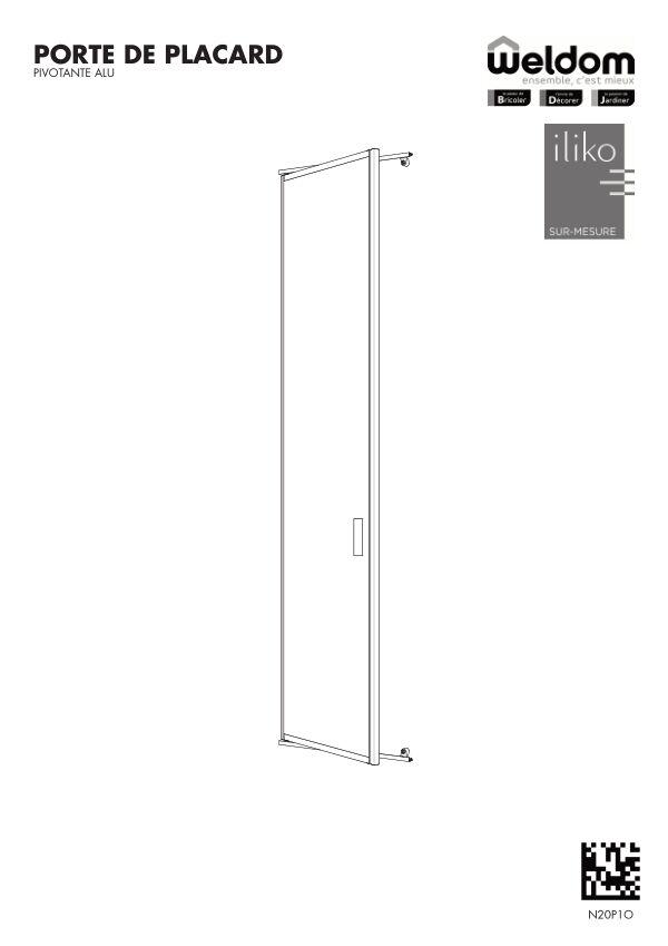 Portes de placard pivotante aluminium Weldom N20P1O