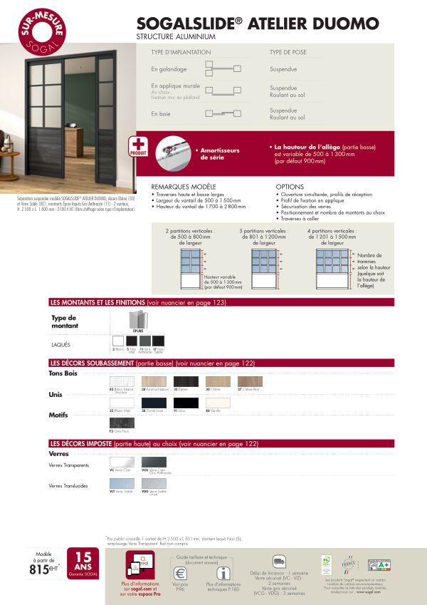 Page modèle Séparation coulissante Sogalslide  Atelier Duomo
