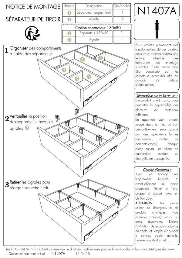 Notice de montage Sogal Aménagement Séparateur de tiroir