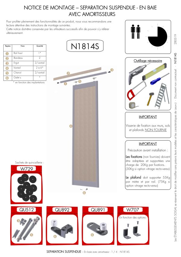Notice de montage Sogal Séparation suspendue aluminium