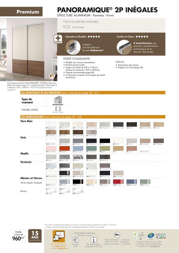 Page modèle Sogal Placard coulissant Panoramique® 2P inegales