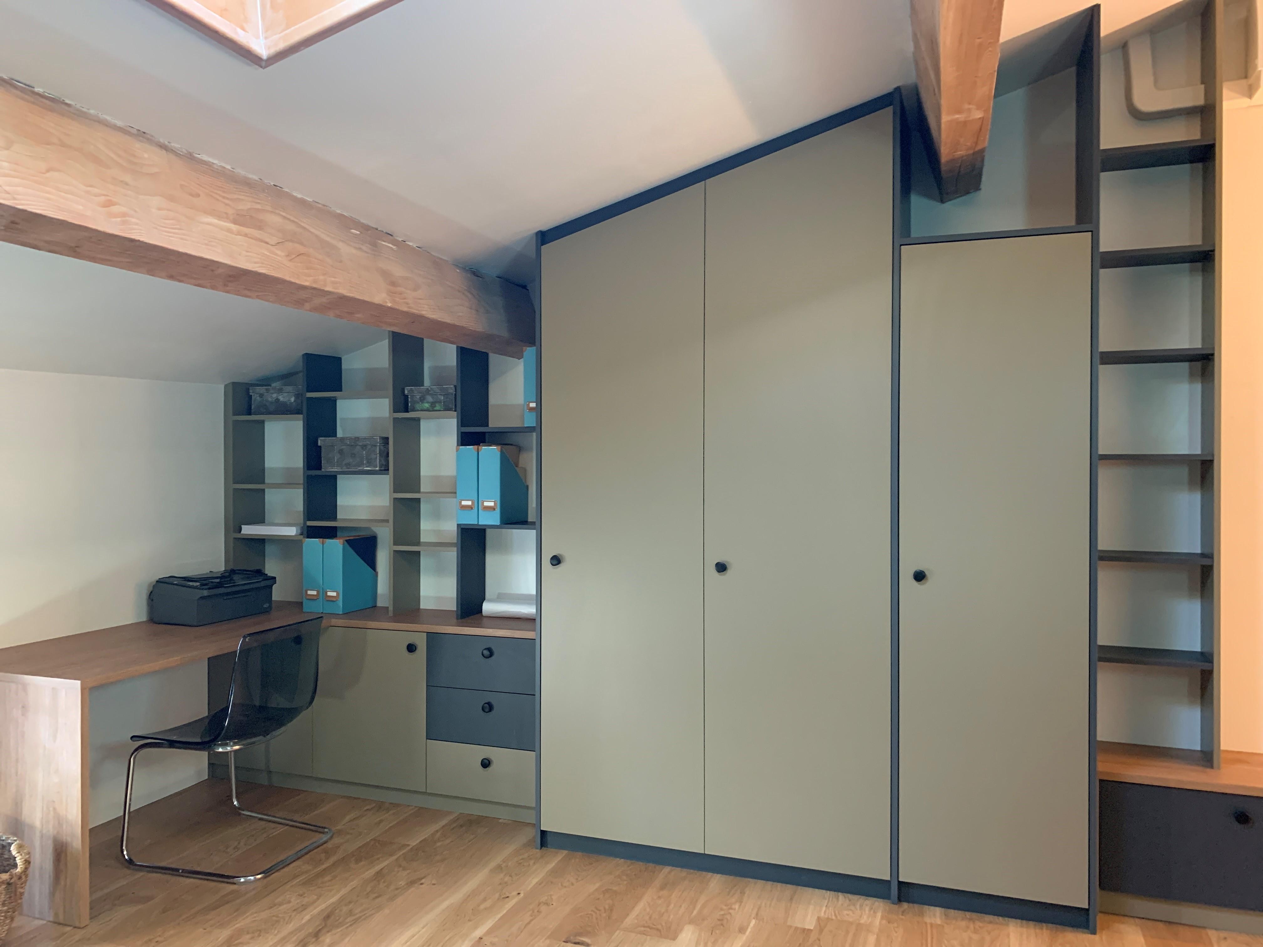 bureau et armoire en angle sur mesure