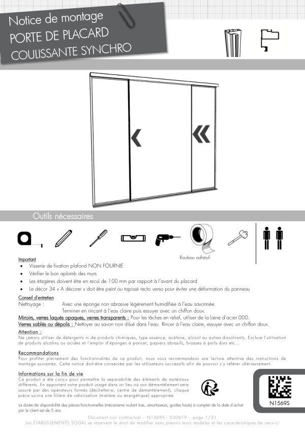 Notice de montage Sogal placard coulissant Duo Synchro montant Listel