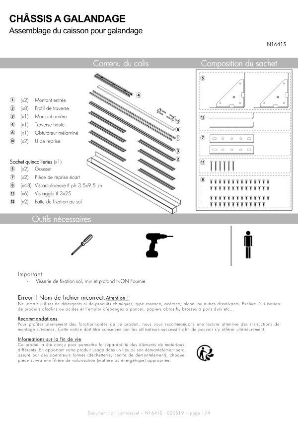 Notice de montage Sogal Châssis standard 1 vantail