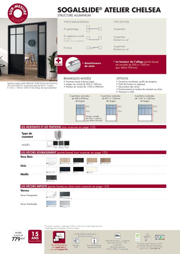 Page modèle Séparation coulissante Sogalslide Atelier Cheslea