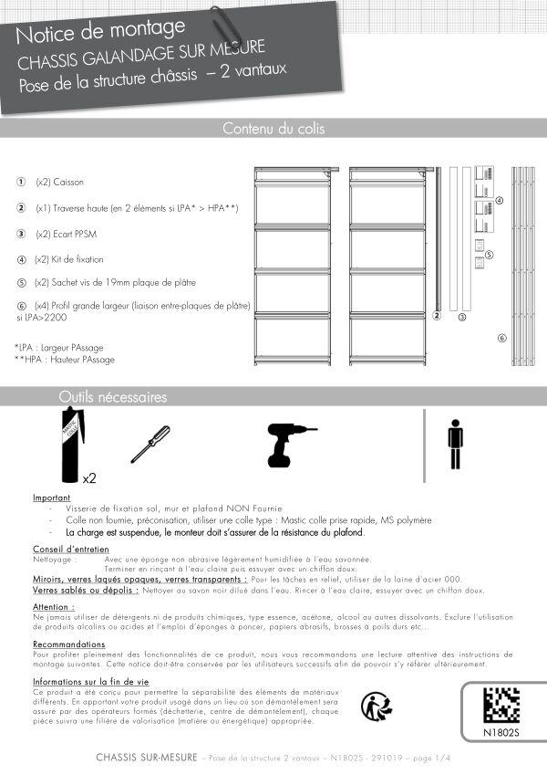 Notice de montage Sogal Châssis sur-mesure 2 vantaux