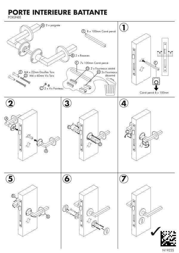 Notice de montage Sogal Poignée bloc-porte