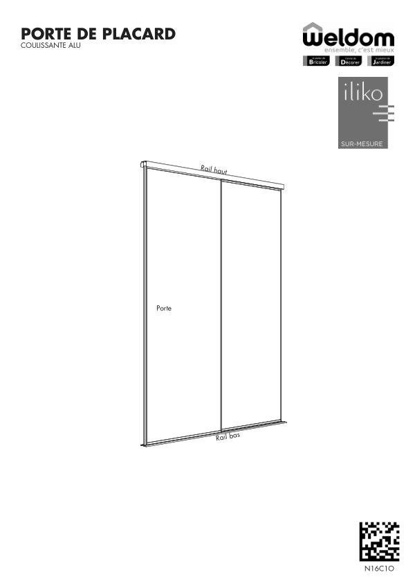 Portes de placard coulissante aluminium Weldom N16C1O