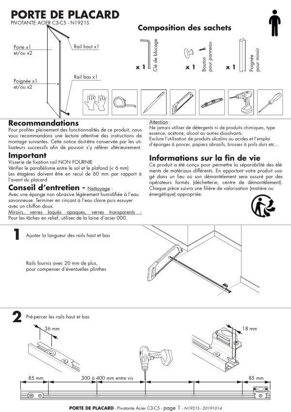 Porte de placard pivotante acier Evasion weldom