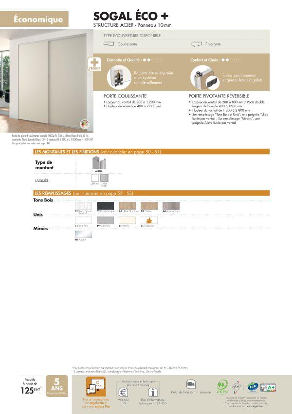 Page modèle Sogal Placard coulissant Sogal Eco +