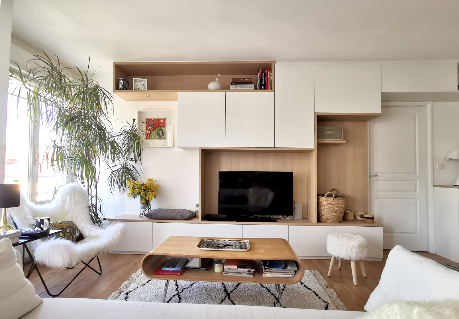 meuble tv blanc salon sur mesure
