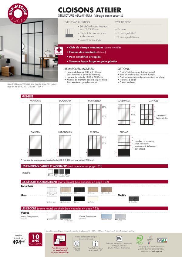 Page modèle Sogal Cloison Atelier