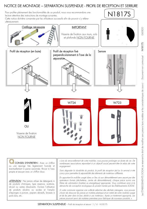 Notice de montage Sogal Séparation suspendue Profil de réception et serrure