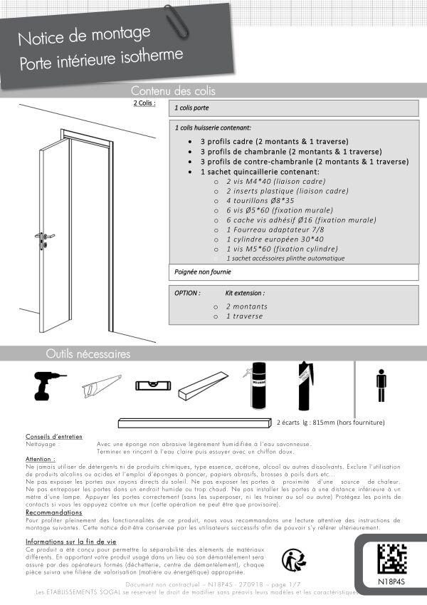 Notice de montage Sogal Bloc-porte isotherme Evidence