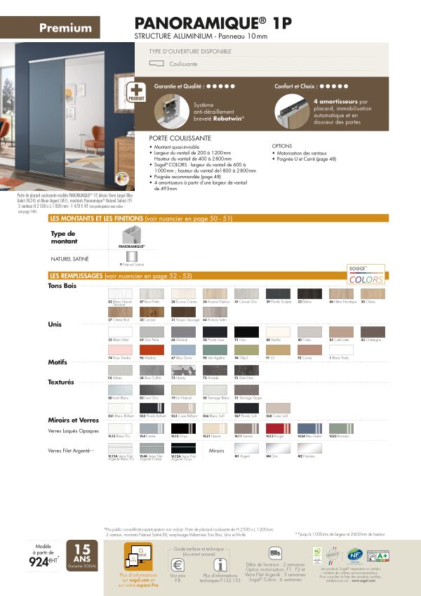 Page modèle Sogal Placard coulissant Panoramique® 1P