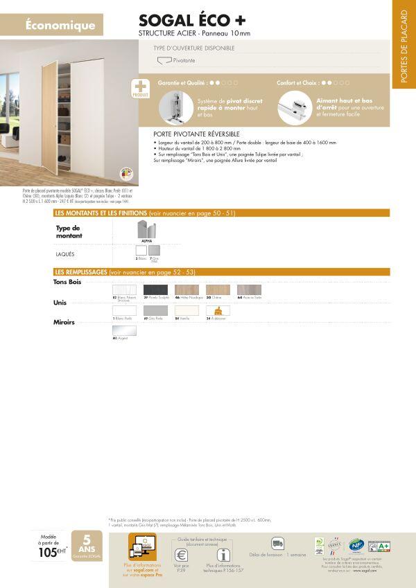 Page modèle Sogal Placard pivotant Eco + réversible