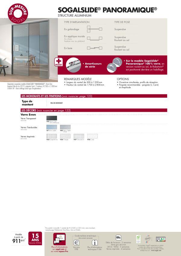 Page modèle Séparation coulissante Sogalslide Panoramique