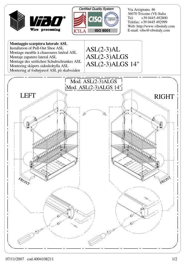 Notice de montage Sogal Aménagement Rangement chaussures coulissant